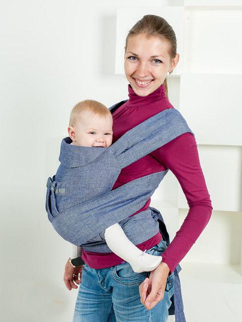 Слинг рюкзак эргономичный, май-слинг переноска для ребёнка с 0 до 3-х лет Лондон, Мамарада 100% лён, image 1