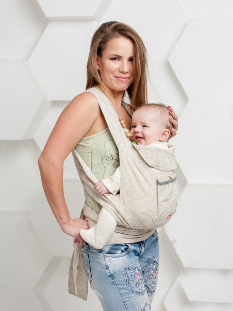 Слинг рюкзак эргономичный, май-слинг переноска для ребёнка с 0 до 3-х лет Селина, Мамарада 100% лён, image 1