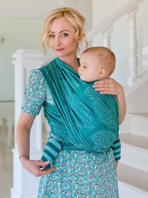 Слинг-шарф для новорожденного, слинг переноска для ребёнка с 0 до 3-х лет Diva Essenza Smeraldo, image 1