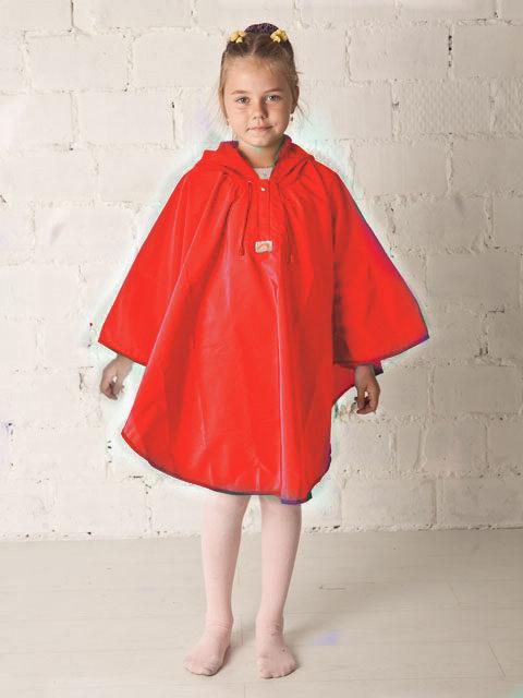 Дождевик детский пончо красный, image 1
