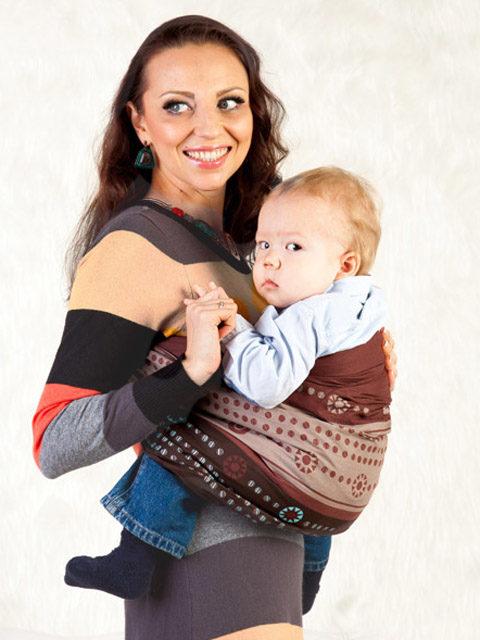 """Слинг для новорожденного с кольцами, слинг переноска для ребёнка с 0 до 3-х лет Мамарада """"Брауни"""" 100% хлопок (бязь), image 1"""