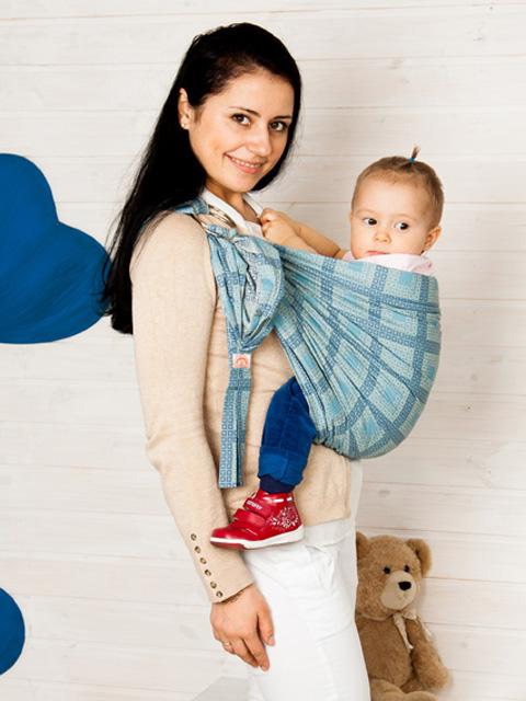 """Слинг для новорожденного с кольцами, слинг переноска для ребёнка с 0 до 3-х лет Мамарада """"Шанхай голубой"""" 100% хлопок (бязь), image 1"""