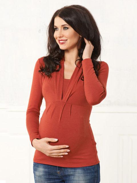 Блуза для беременных и кормящих Тревиоло терракот B1548-3, image 1