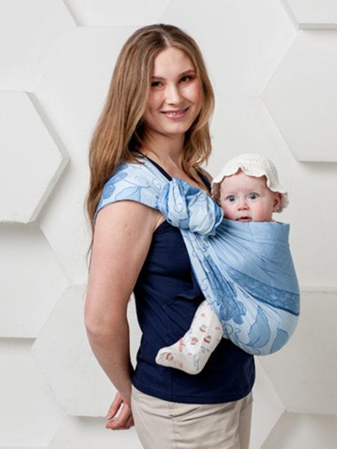 Слинг для новорожденного, с кольцами слинг, переноска для детей с 0 до 3-х лет Мамарада Голубой Цветок image 1