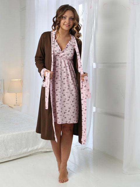 Комплект для роддома халат и сорочка для беременных и кормящих мам Kelly шоколад , lovely mammy, image 1
