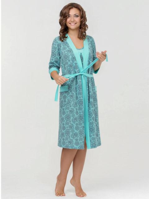 Комплект для роддома халат и сорочка для беременных и кормящих мам Nataly бирюза, lovely mammy, image 1