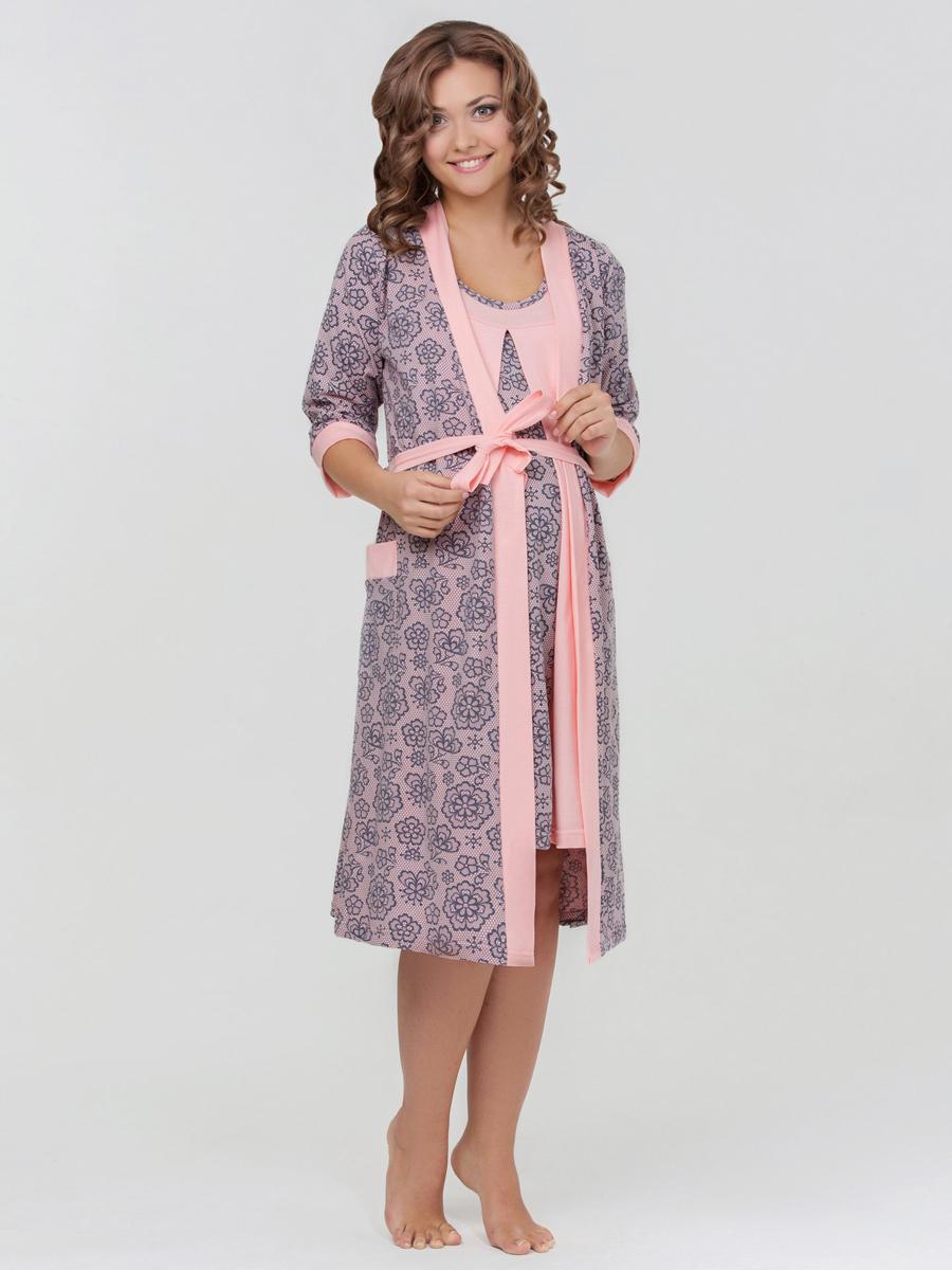 Комплект для роддома халат и сорочка для беременных и кормящих мам Nataly  розовый, lovely mammy a0e399d2f28