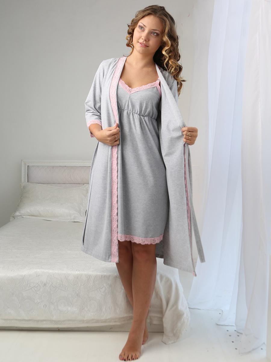 beac335c3530 Комплект для роддома халат и сорочка для беременных и кормящих мам Grace  серый меланж, lovely