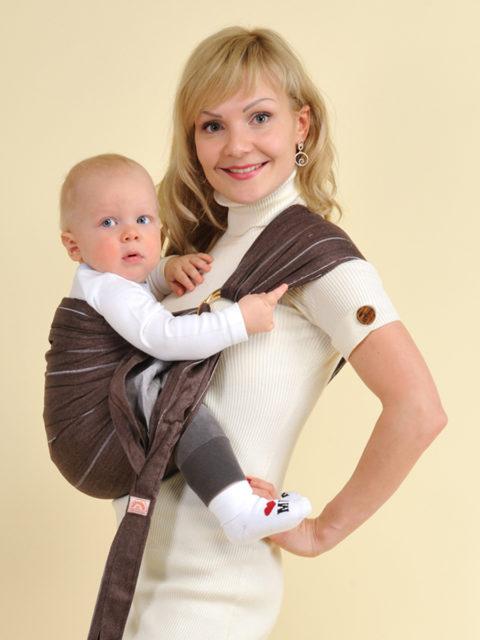 Слинг для новорожденного с кольцами Шоколад image 1