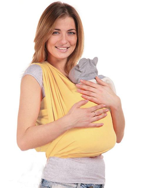 Трикотажный слинг, трикотажный слинг-шарф для новорожденных Желтый