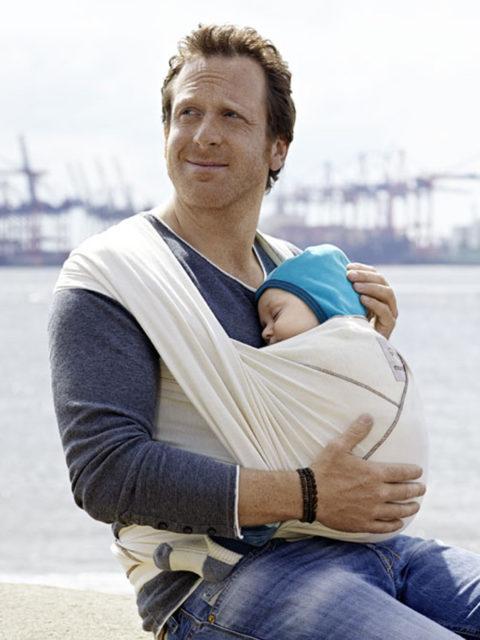 Трикотажный слинг шарф для новорожденных Manduca Beige