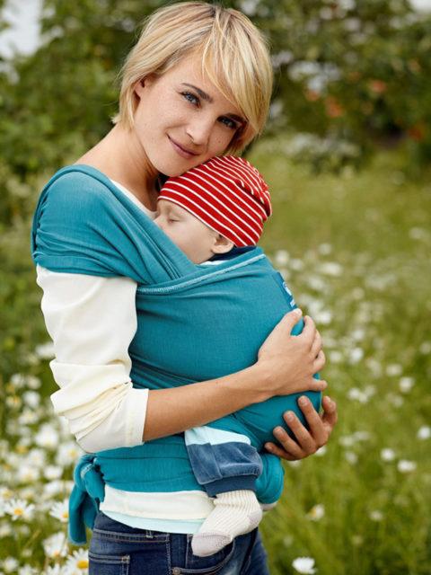 Трикотажный слинг шарф для новорожденных Manduca Бирюза