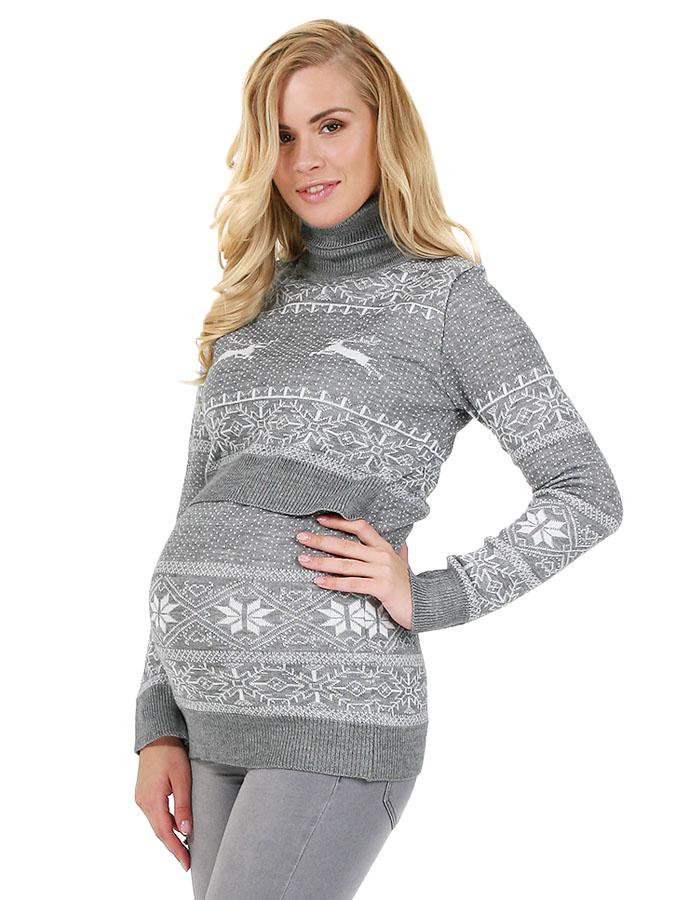 Свитер для беременных Лигия серый меланж - купить одежду для беременных    Мамаплюс СПб cc0019133f3