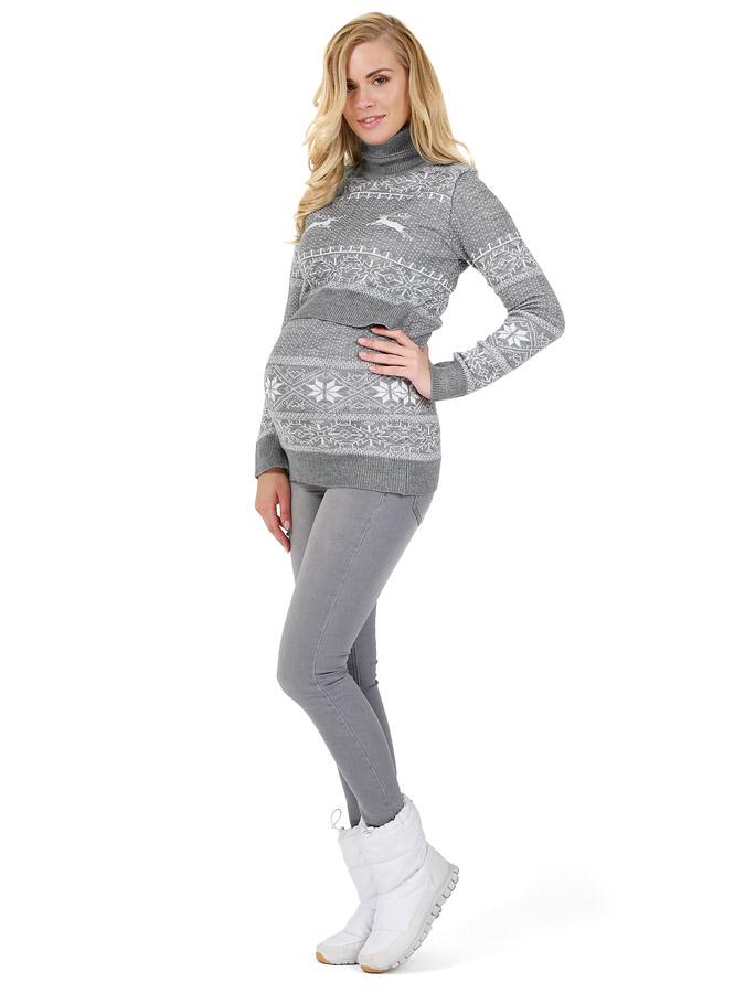 30fc2a3855b6 Свитер для беременных Лигия серый меланж - купить одежду для ...