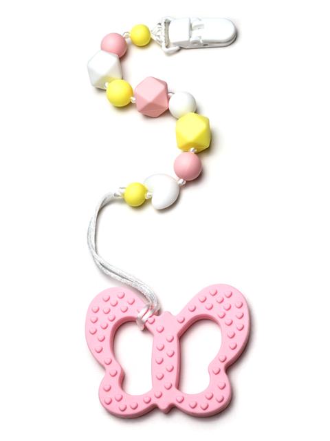 Силиконовый грызунок Бабочка розовая на держателе Image1, прорезыватели для зубов