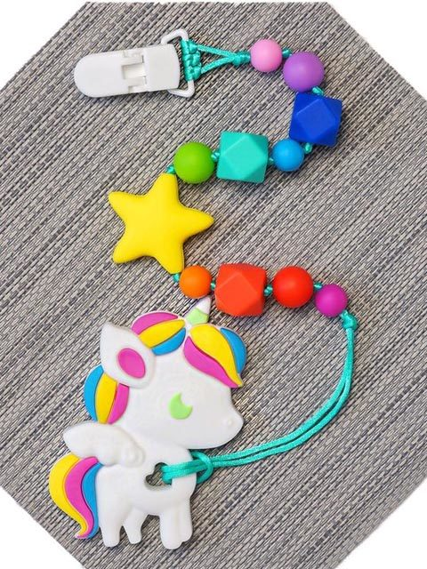 Силиконовый грызунок Единорожка на радужном держателе со звездой Image1, прорезыватели для зубов