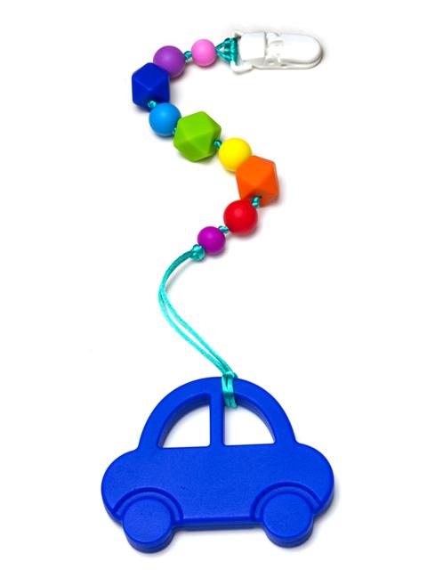 Силиконовый грызунок Машинка синяя на радужном держателе Image1, прорезыватели для зубов
