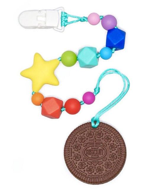 Силиконовый грызунок Печенька шоколадная на радужном держателе со звездой Image1, прорезыватели для зубов