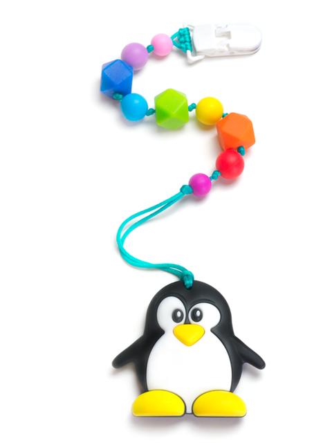 Силиконовый грызунок Пингвинёнок на радужном держателе Image1, прорезыватели для зубов