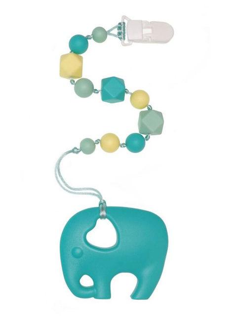 Силиконовый грызунок Слоник бирюзовый на держателе Image1, прорезыватели для зубов