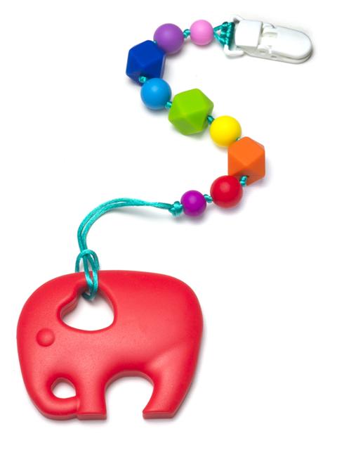 Силиконовый грызунок Слоник Красный на Радужном Держателе Image1, прорезыватели для зубов