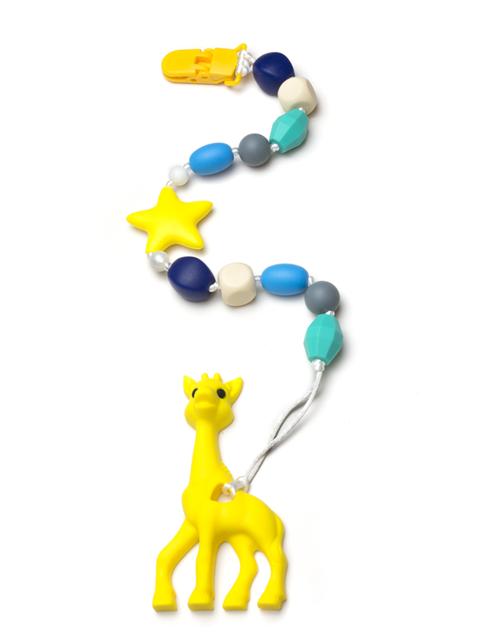 Силиконовый грызунок Жирафик жёлтый на держателе Морские камушки Image1, прорезыватели для зубов