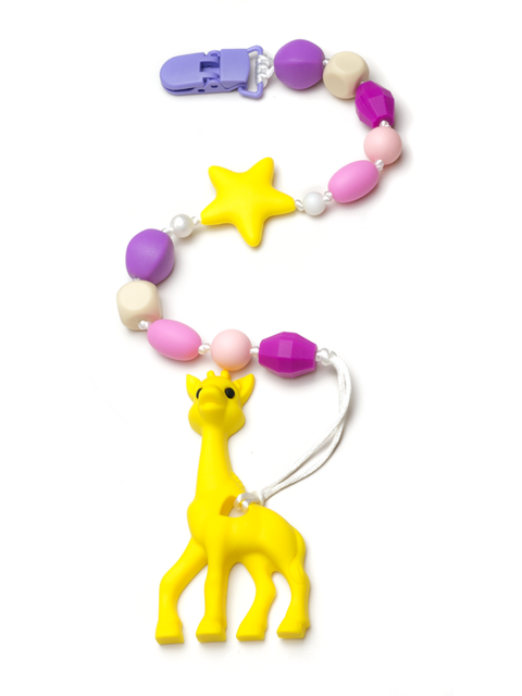 Силиконовый грызунок Жирафик жёлтый на держателе Розовый песок