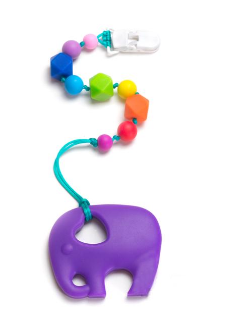 Силиконовый грызунок Слоник лавандовый на радужном держателе Image1, прорезыватели для зубов