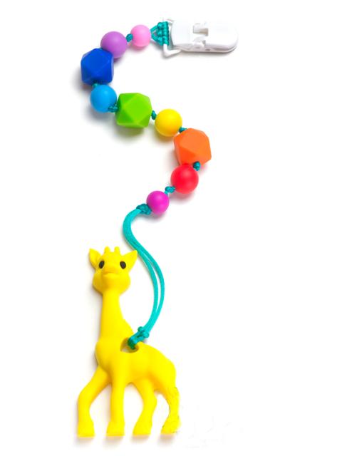 Силиконовый грызунок Жирафик на радужном держателе Image1, прорезыватели для зубов