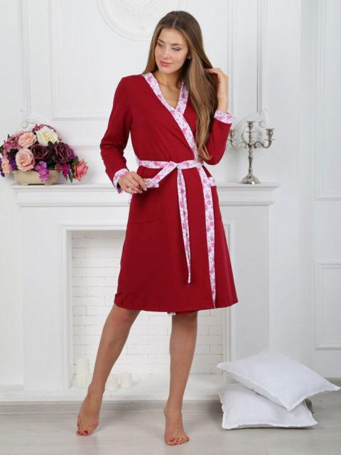 Комплект в роддом халат и сорочка для беременных и кормящих Моника бордо, image6