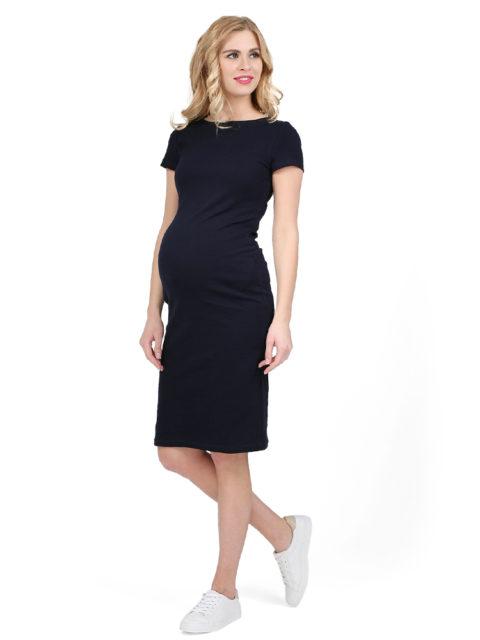 Платье для беременных трикотажное Милена темно-синее-img1