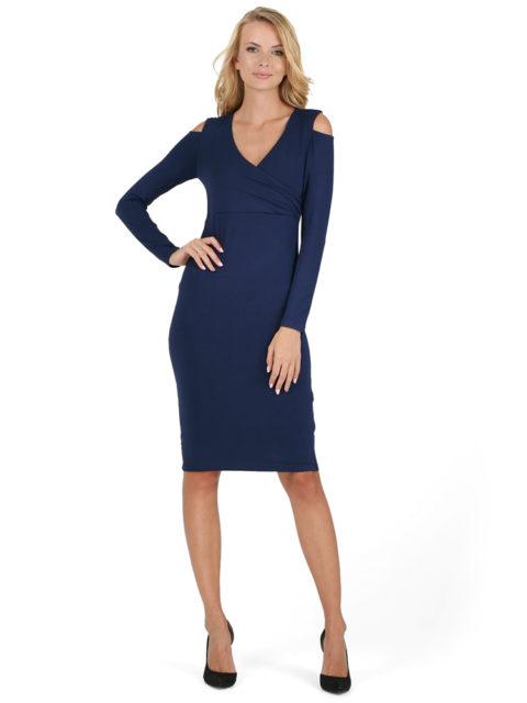 d12a87097605 ... Трикотажное платье для беременных, платье для кормящих мам Альтера  синее-img2