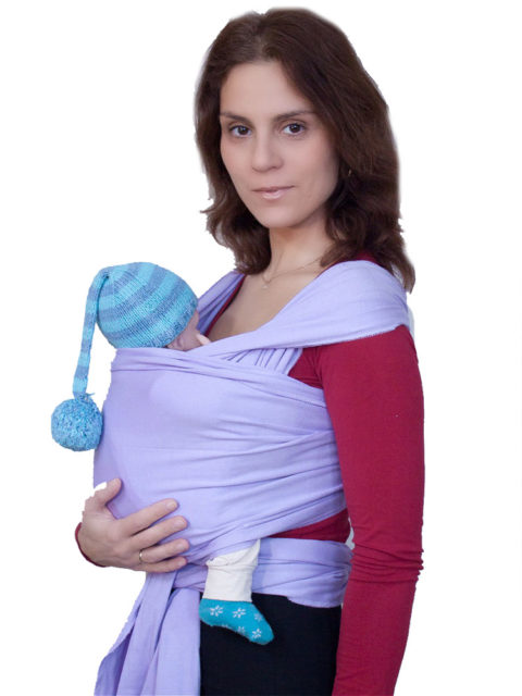 Трикотажный слинг шарф для новорожденных Карауш лаванда, image1