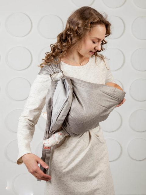Слинг для новорожденных от 0 до 6, слинг с кольцами Мамарада Графит, image1