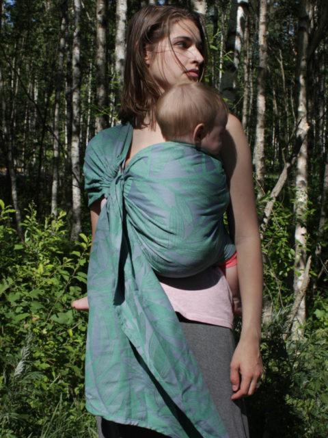 Слинг для новорожденных с кольцами тканый Vmeste Botanica Garnet Grass image2