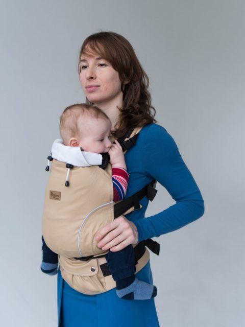 Эрго-рюкзак с 3 месяцев, слинг-рюкзак Rumes Сердолик бежевый/белый image2