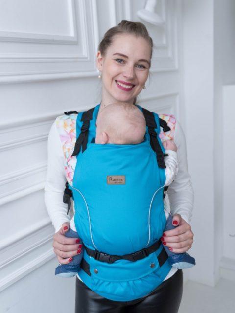 Эрго-рюкзак с 3 месяцев, слинг-рюкзак Rumes Бирюзовый/белый image3