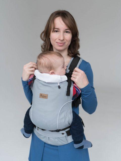 Эрго-рюкзак с 3 месяцев, слинг-рюкзак Rumes Светло-серый/белый image12