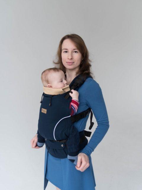 Эрго-рюкзак с 3 месяцев, слинг-рюкзак Rumes Темно-синий/бежевый image2