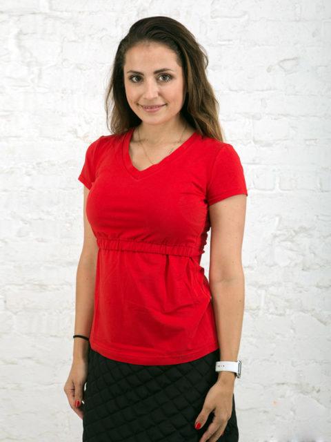 Футболка для беременных, футболка для кормящих мам «Аделин» кармин image3