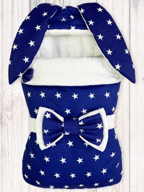 Конверты на выписку для новорожденных «Зайка» Звезды на Синем