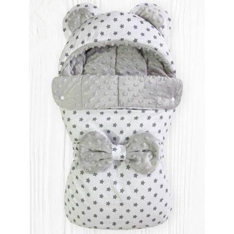 Конверты на выписку для новорожденных «Мишка» Звезды на белом Плюш серый