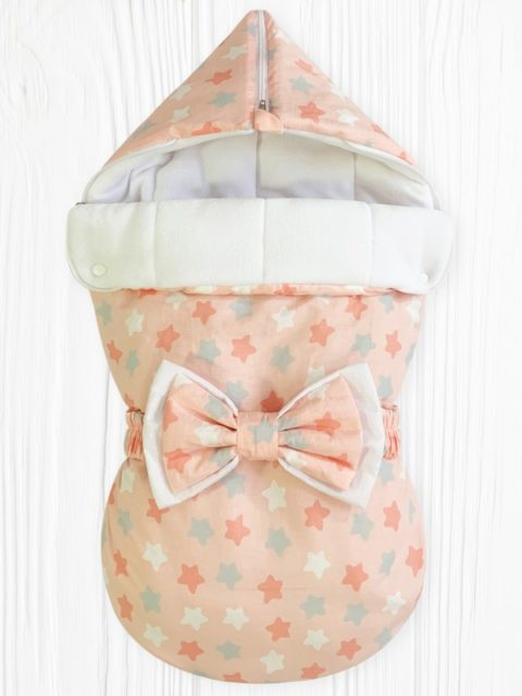 Конверты на выписку для новорожденных «Звездный Микс Розовый» с бантом,