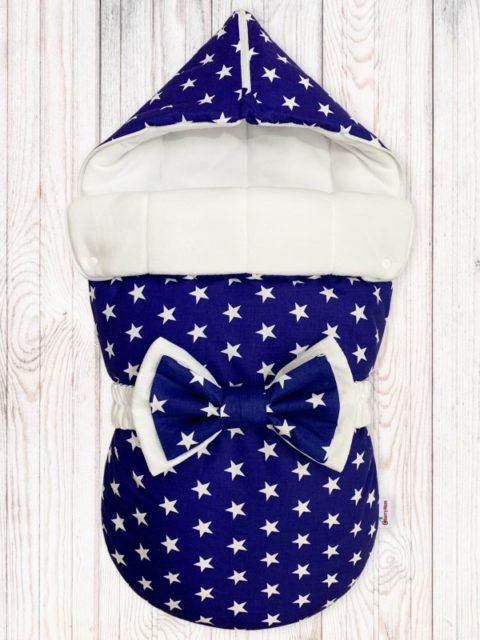 Конверты на выписку для новорожденных «Звезды на синем» с бантом