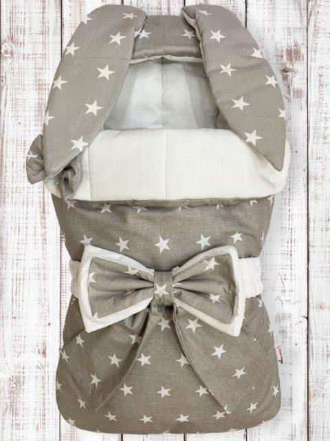 Конверты на выписку для новорожденных «Зайка» серый