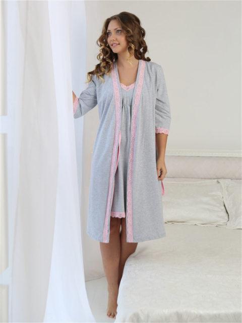 Комплект в роддом халат и сорочка для беременных и кормящих Grace меланж