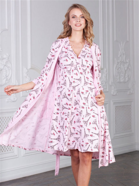 Комплект в роддом халат и сорочка Kelly Париж для беременных и кормящих