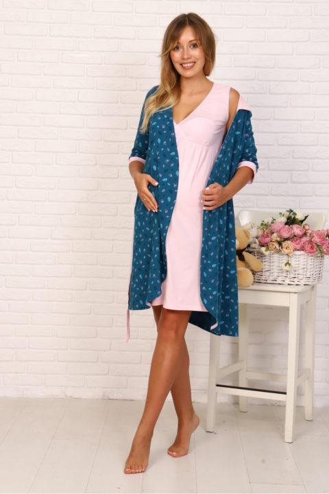 Комплект в роддом халат и сорочка Птички/розовый для беременных и кормящих
