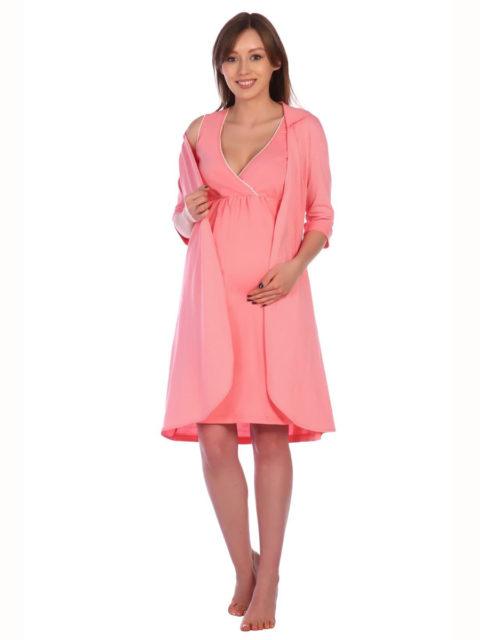 Комплект в роддом халат и сорочка Коралл для беременных и кормящих