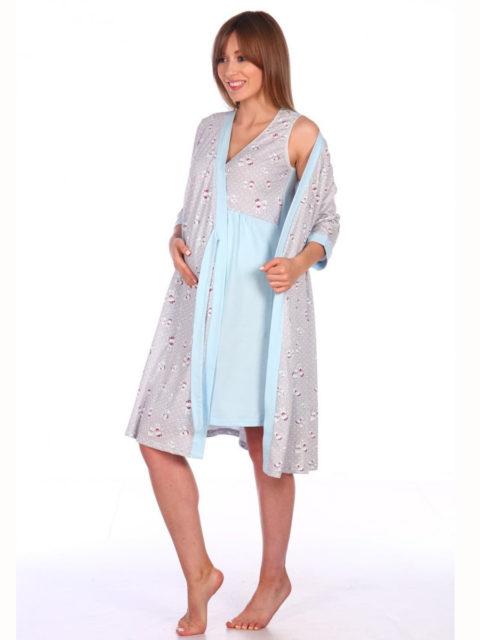 Комплект в роддом халат и сорочка Мишки серый/голубой для беременных и кормящих